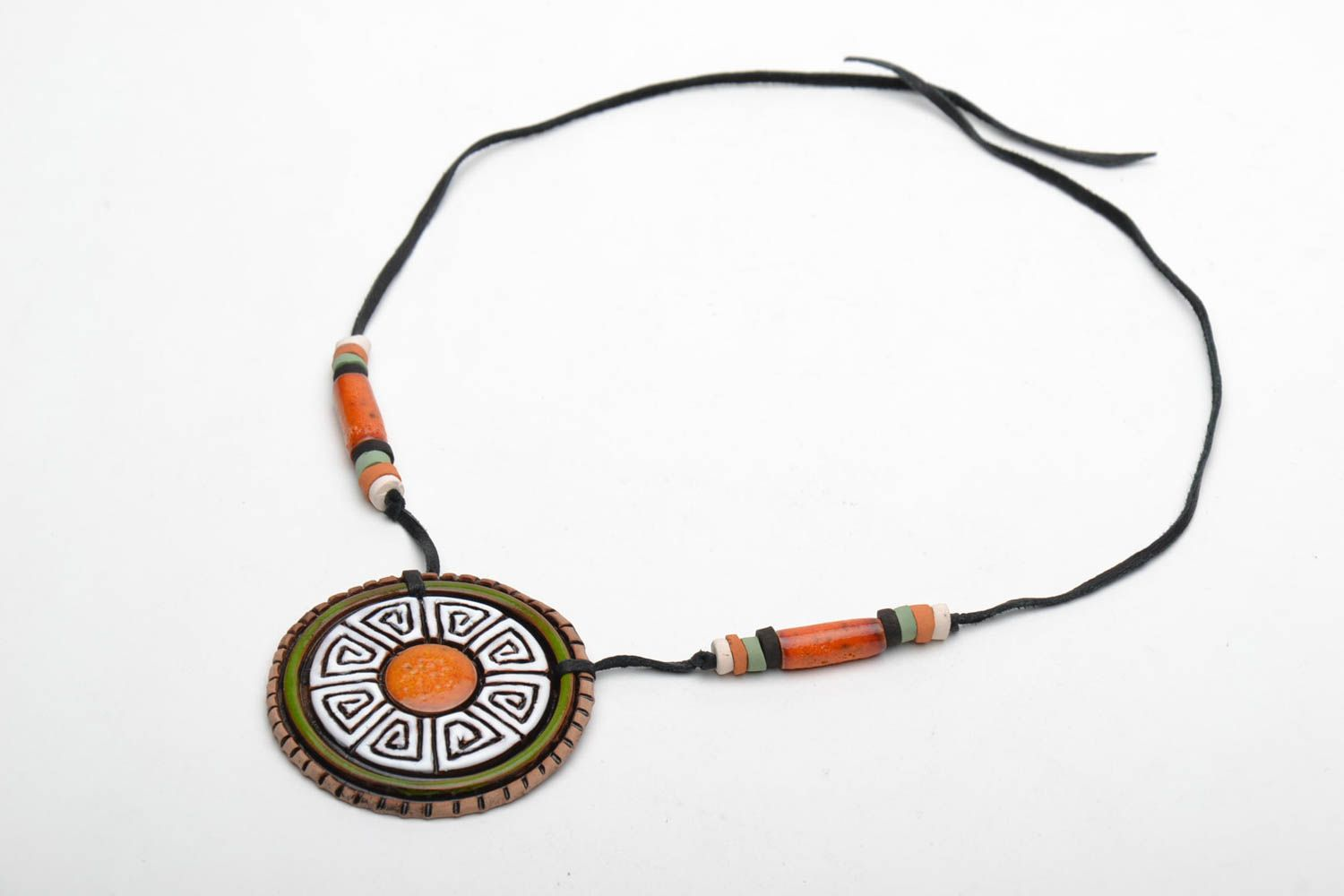 Ceramic pendant in ethnic style photo 3