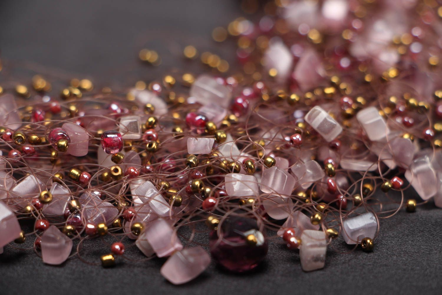 Beaded necklace with natural stones of pink color photo 2