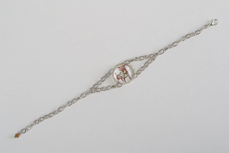 Pulsera de metal y cristal en cadenita artesanal bonita Tauro foto 3