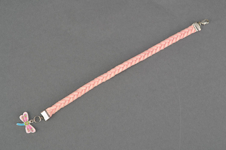 Pink natural suede bracelet for girls photo 3