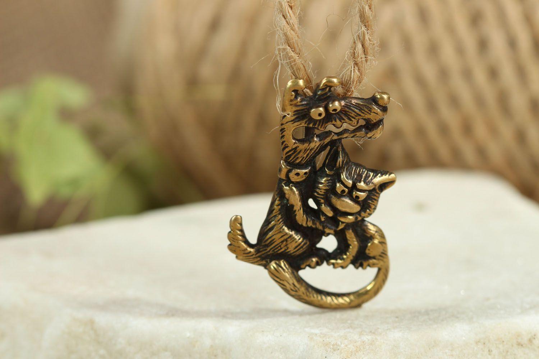 Bronze pendant Love is Evil photo 4