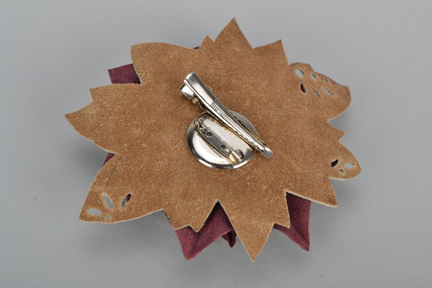 Leather flower brooch hair clip photo 5