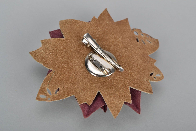 Кожаная брошь-заколка в виде цветка фото 5
