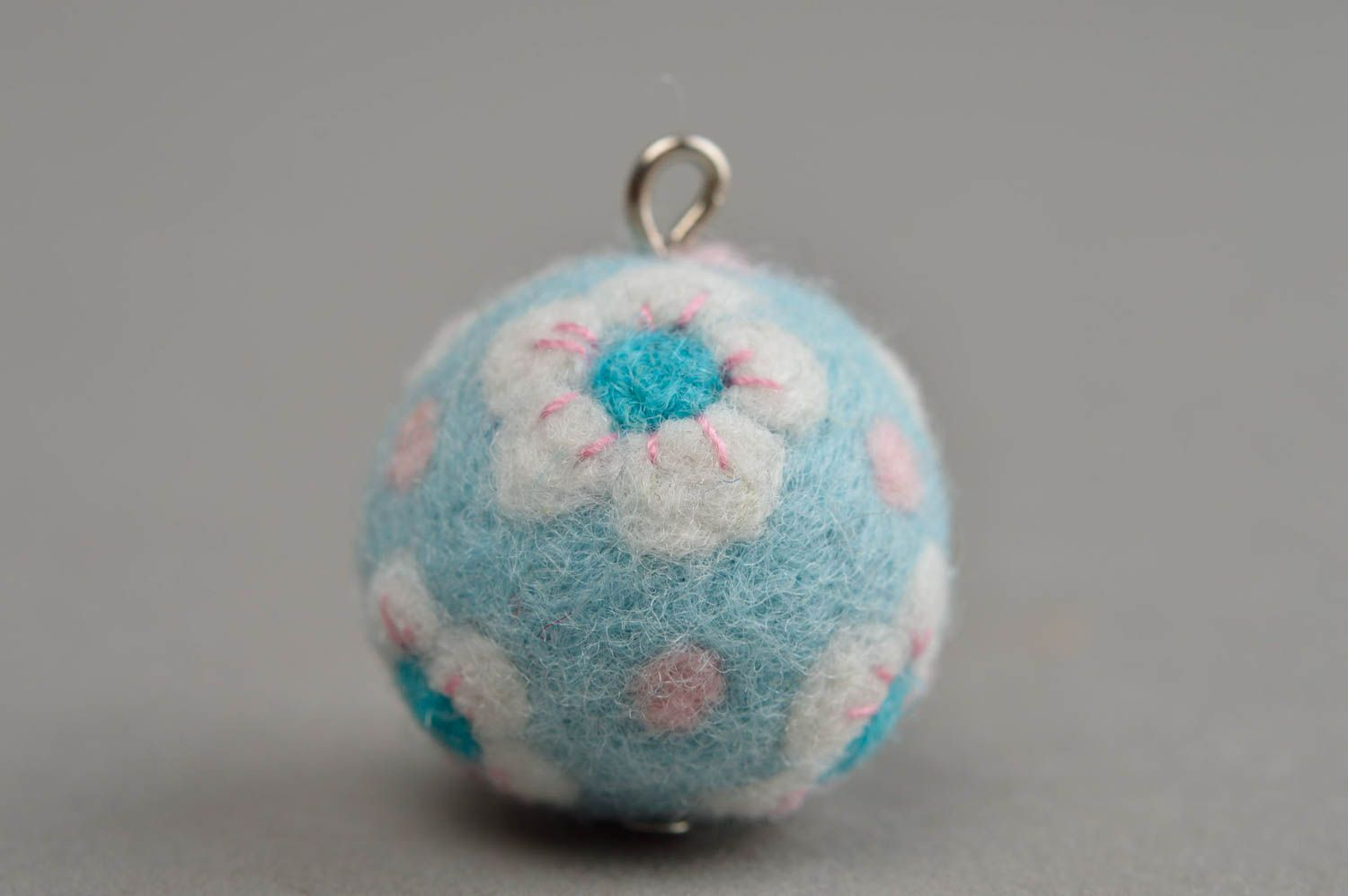 Beautiful homemade felted wool ball necklace craft supplies diy jewelry making photo 3