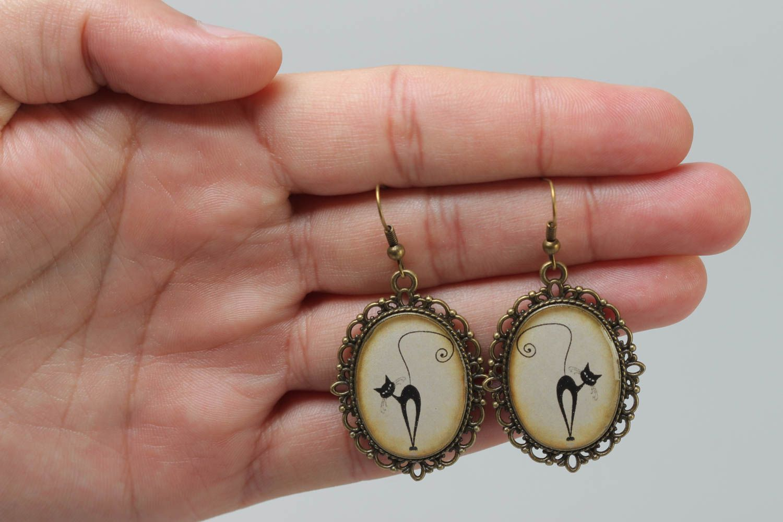 Beautiful handmade earrings made of glass glaze vintage style accessory photo 5