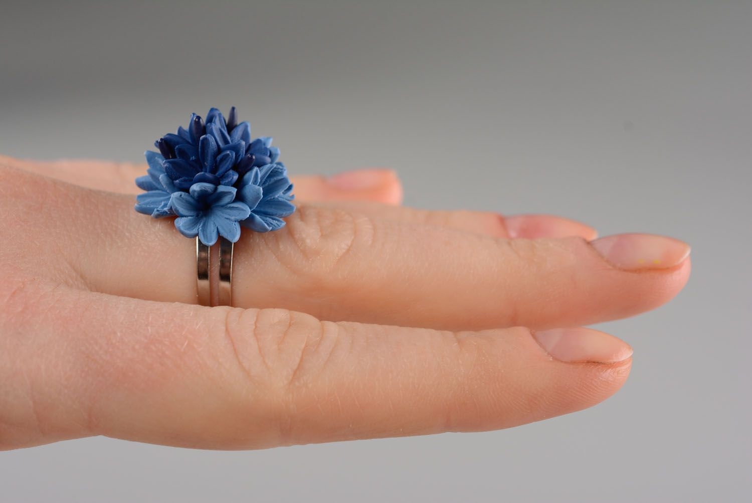 Homemade plastic ring Cornflower photo 3