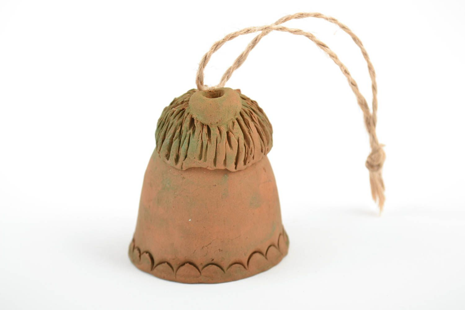 Handmade decorative figured ceramic hanging bell in the shape of house  photo 4