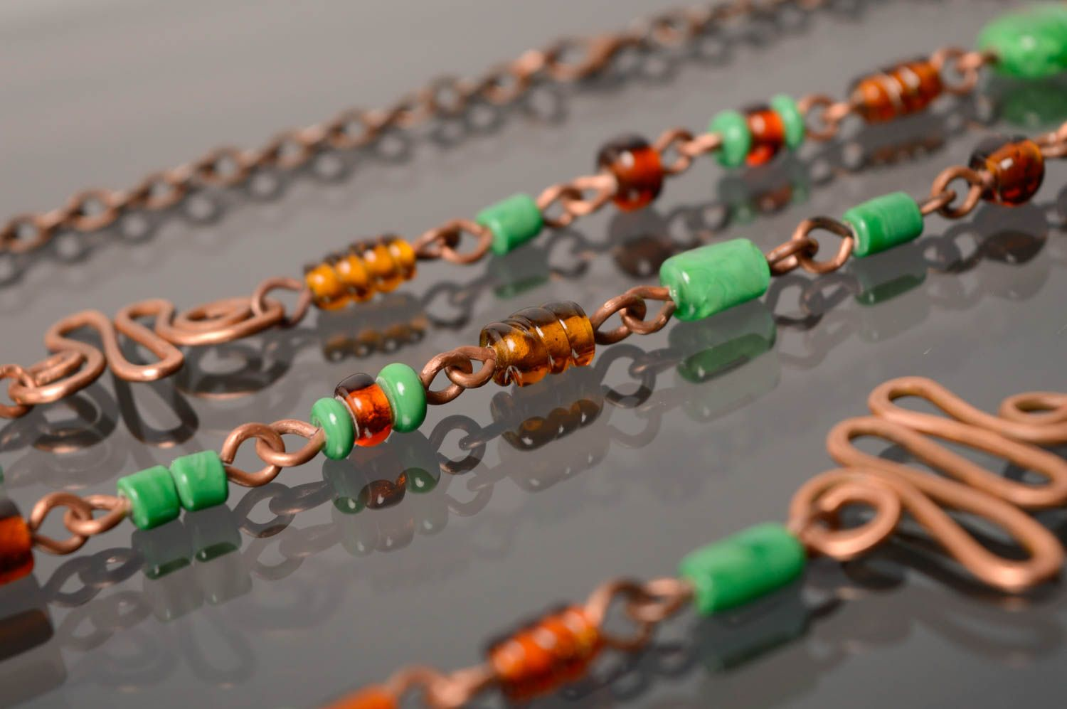 Wire wrap necklace-belt with designer lampwork beads Miria photo 5
