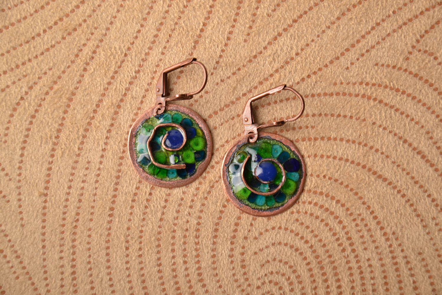 Unusual round copper earrings painted with enamels photo 1