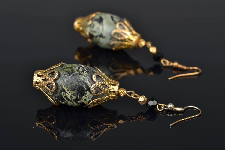 Handmade earrings with beads of unusual shape photo 1