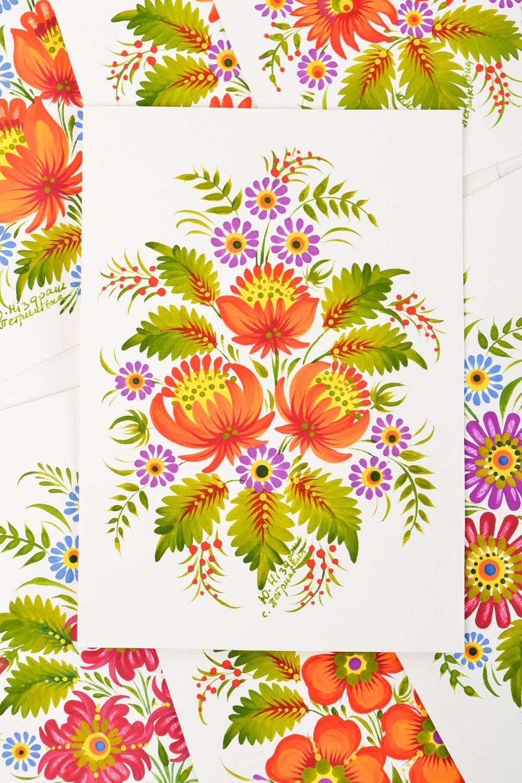 Unusual handmade greeting cards flower greeting card vintage post card photo 3