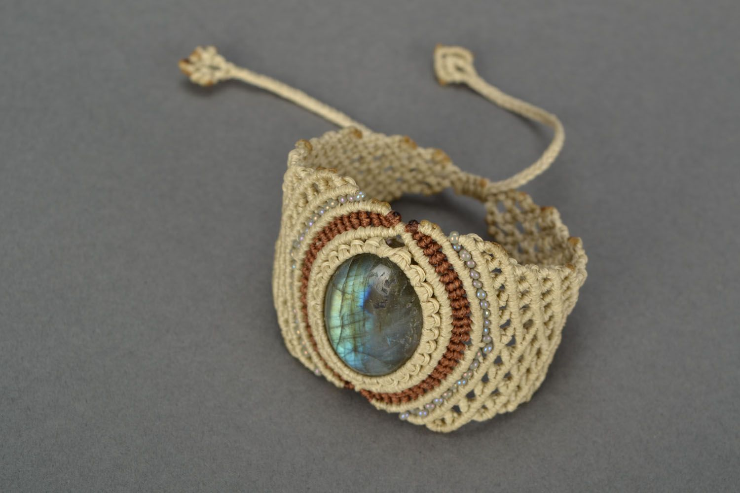 Woven bracelet with labradorite photo 3