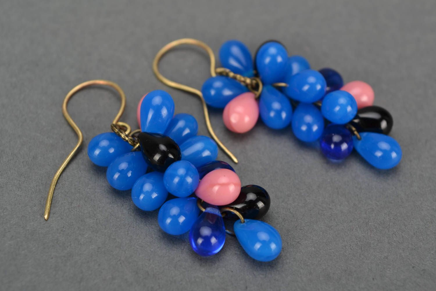 Beautiful blue handmade designer long earrings created of Czech glass photo 4