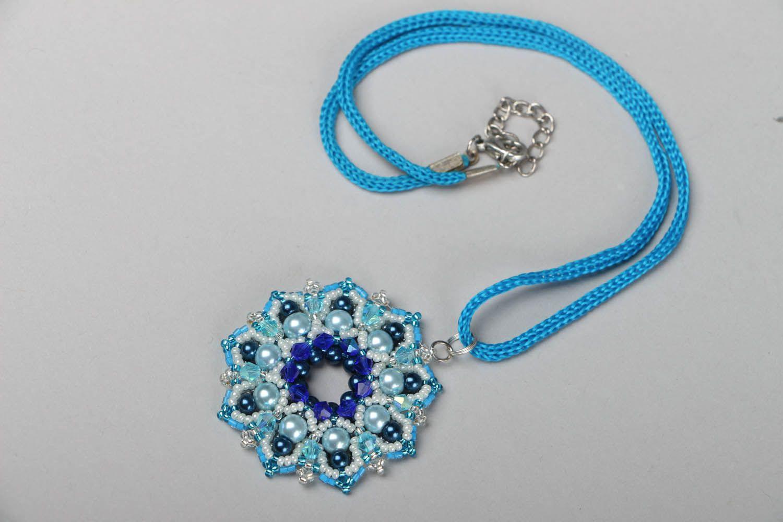 Blue beaded pendant Pearls photo 3