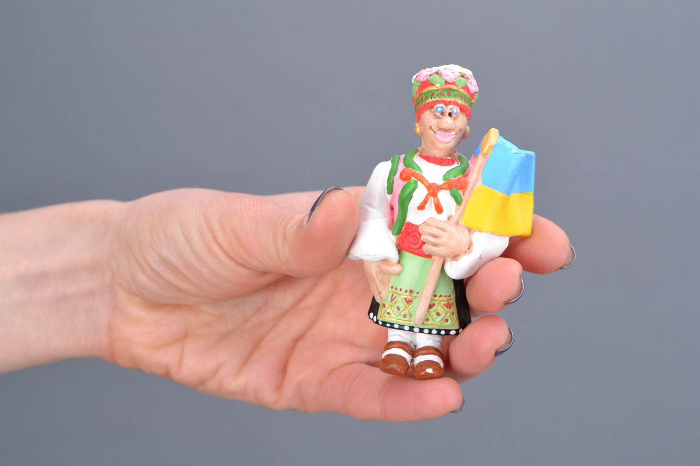 Homemade fridge magnet West Ukrainian Woman with the Flag of Ukraine photo 2
