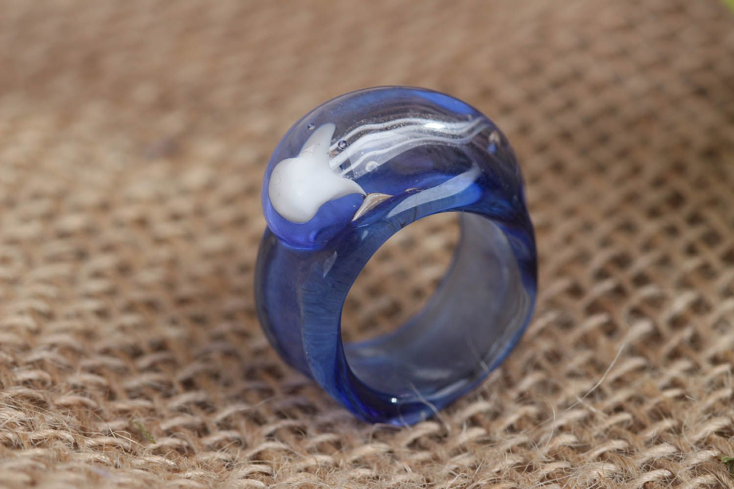 Blue glass ring Sea Drop photo 1
