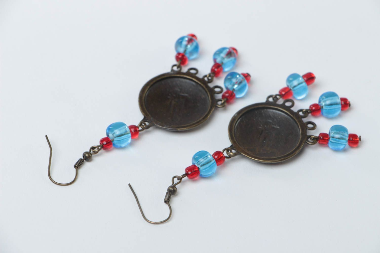 Handmade long metal earrings unusual designer earrings stylish accessory photo 4