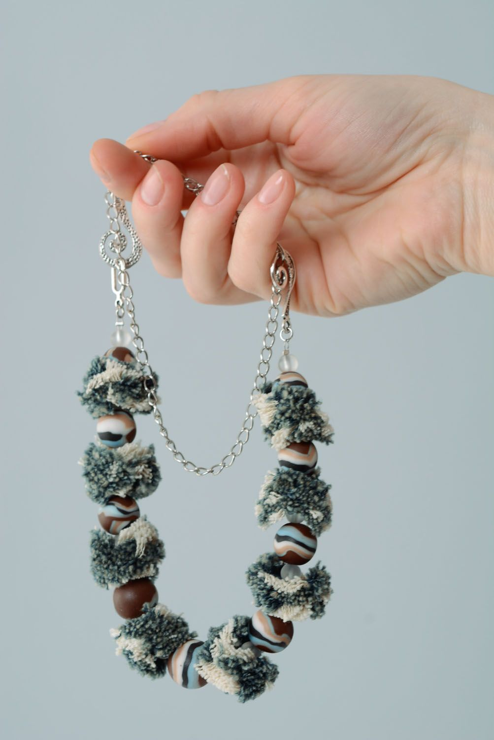 Necklace made of polymer clay Denim photo 3