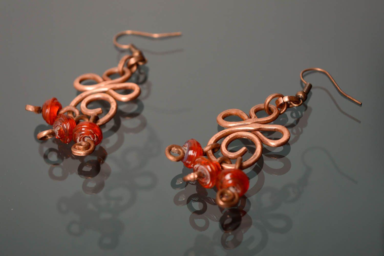 Ohrringe aus Kupfer in Wire Wrap Technik mit Perlen Lampwork foto 1