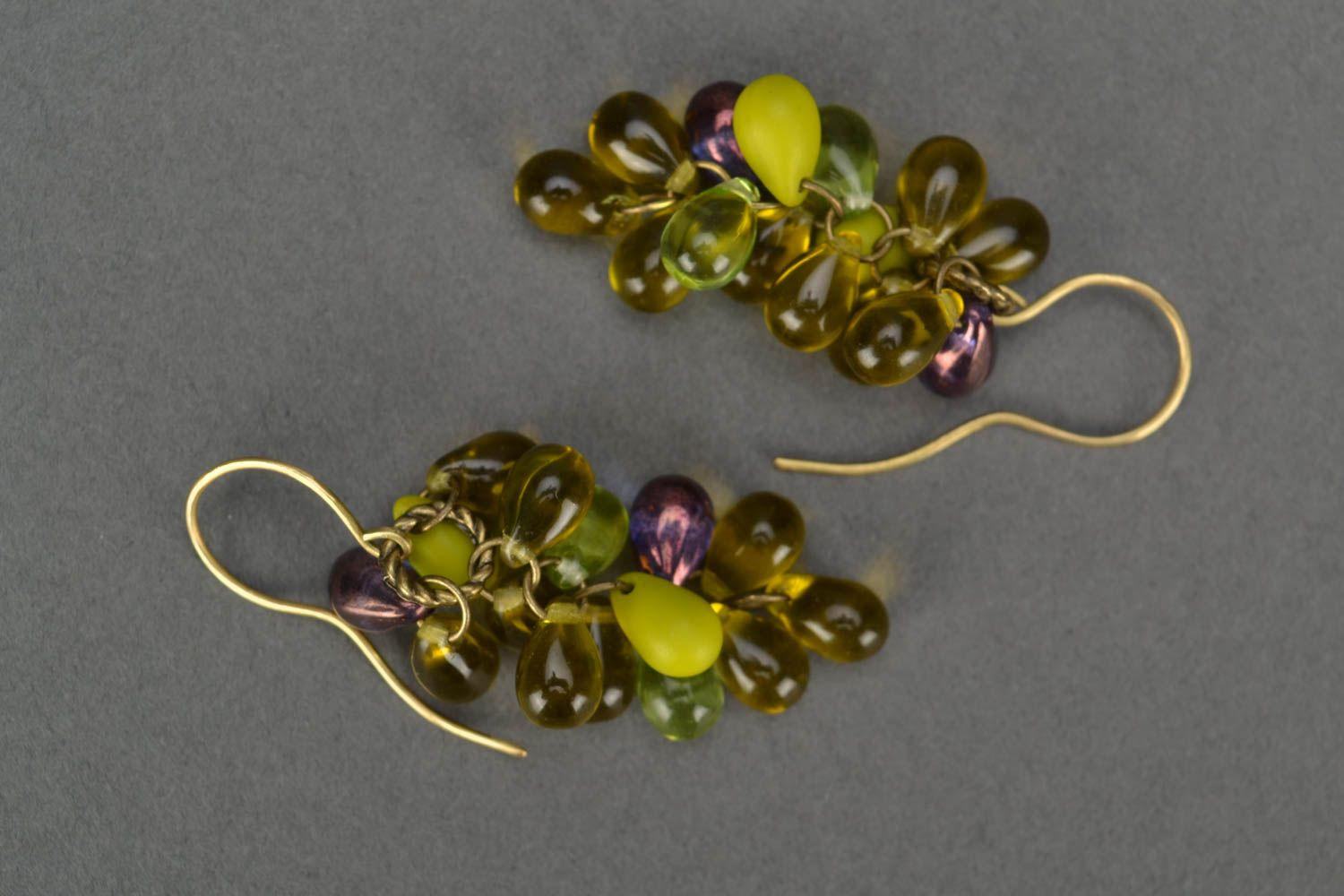 Handmade designer glass bead earrings in green color palette Bunches photo 2