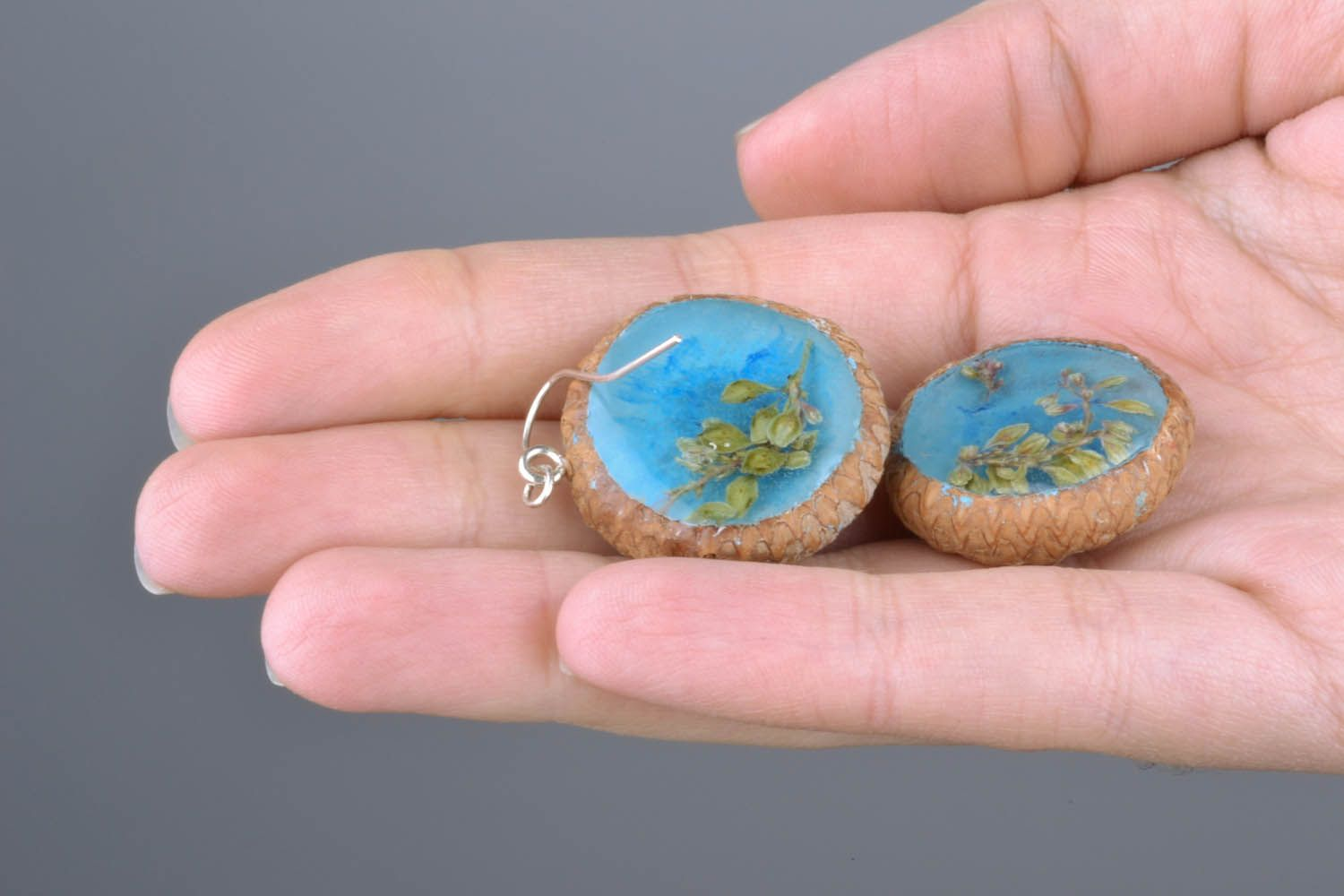 Earrings with dried flowers Acorns photo 2