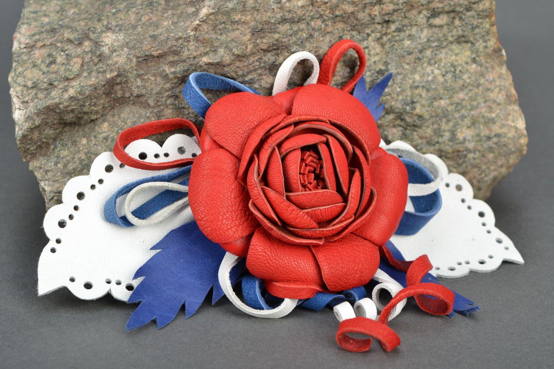 Blume Haarspange aus Leder foto 1