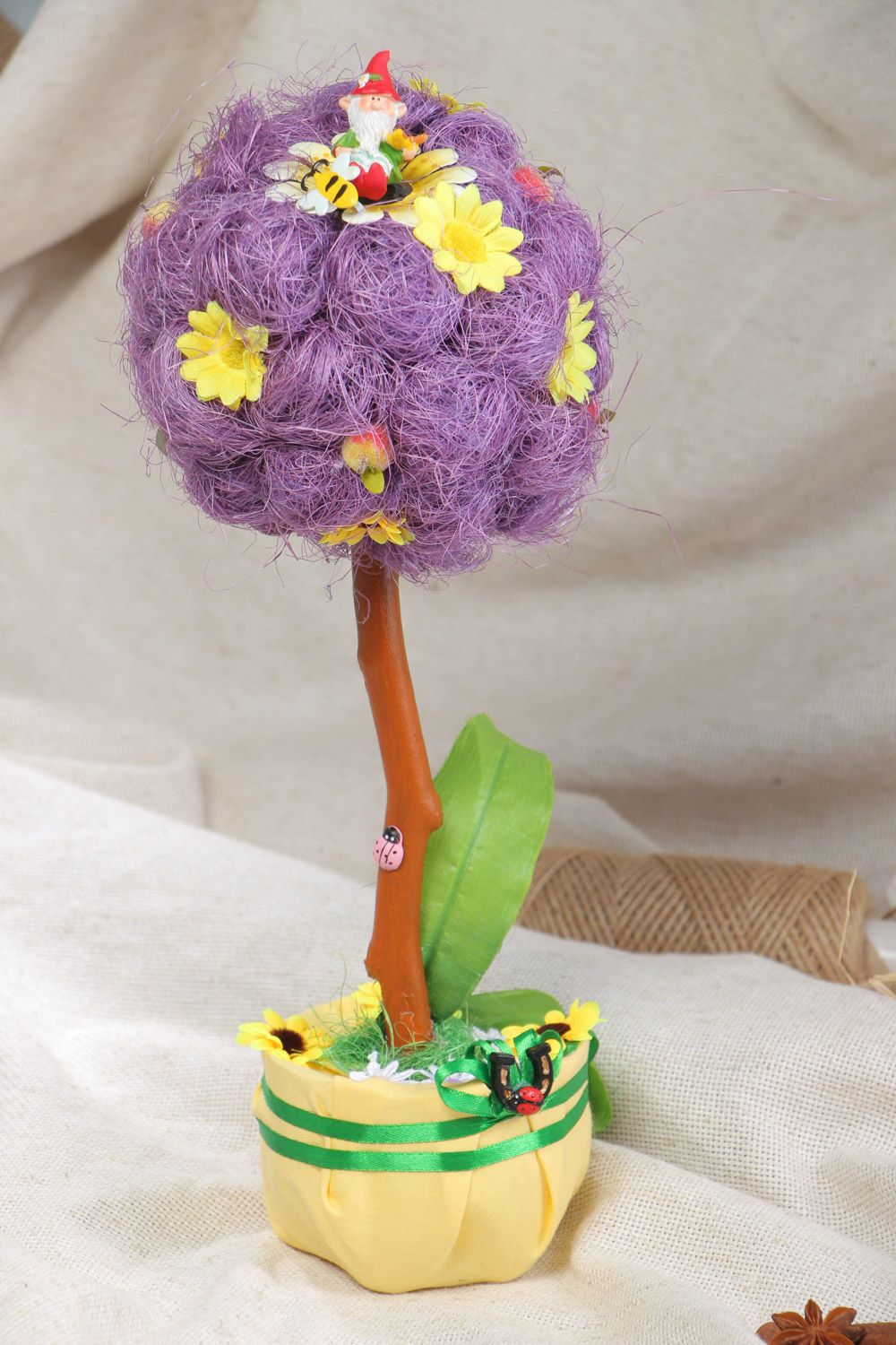 Handmade decorative tree topiary with violet sisal and artificial flowers photo 1