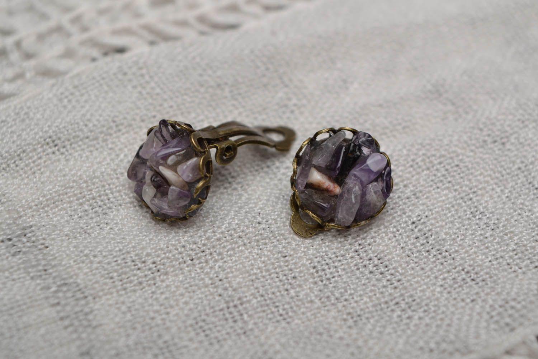 Kleine Ohrringe mit Amethyst  foto 1