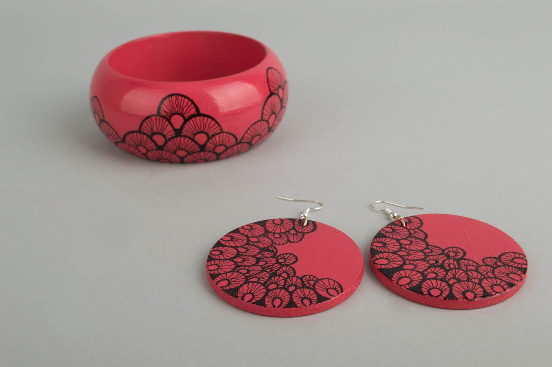 Handmade jewelry set dangling earrings womens bracelet wooden accessories photo 3