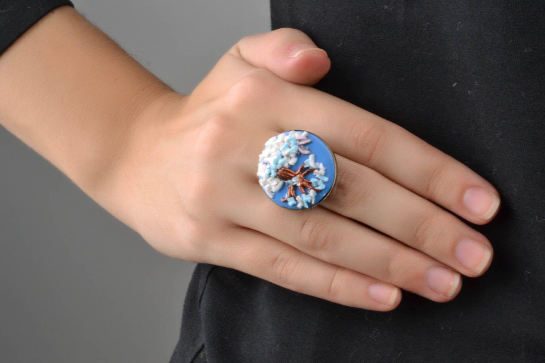 Кольцо из полимерной глины Зимний пейзаж фото 1