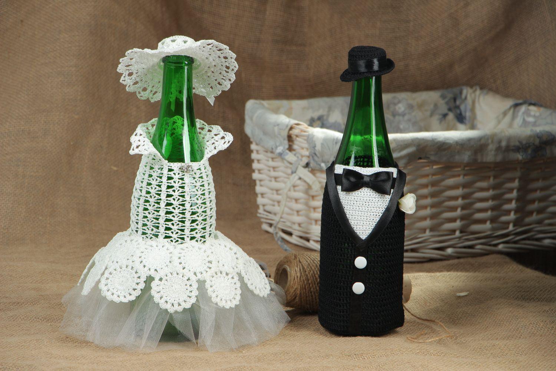 Оформление бутылки шампанского на свадьбу своими руками