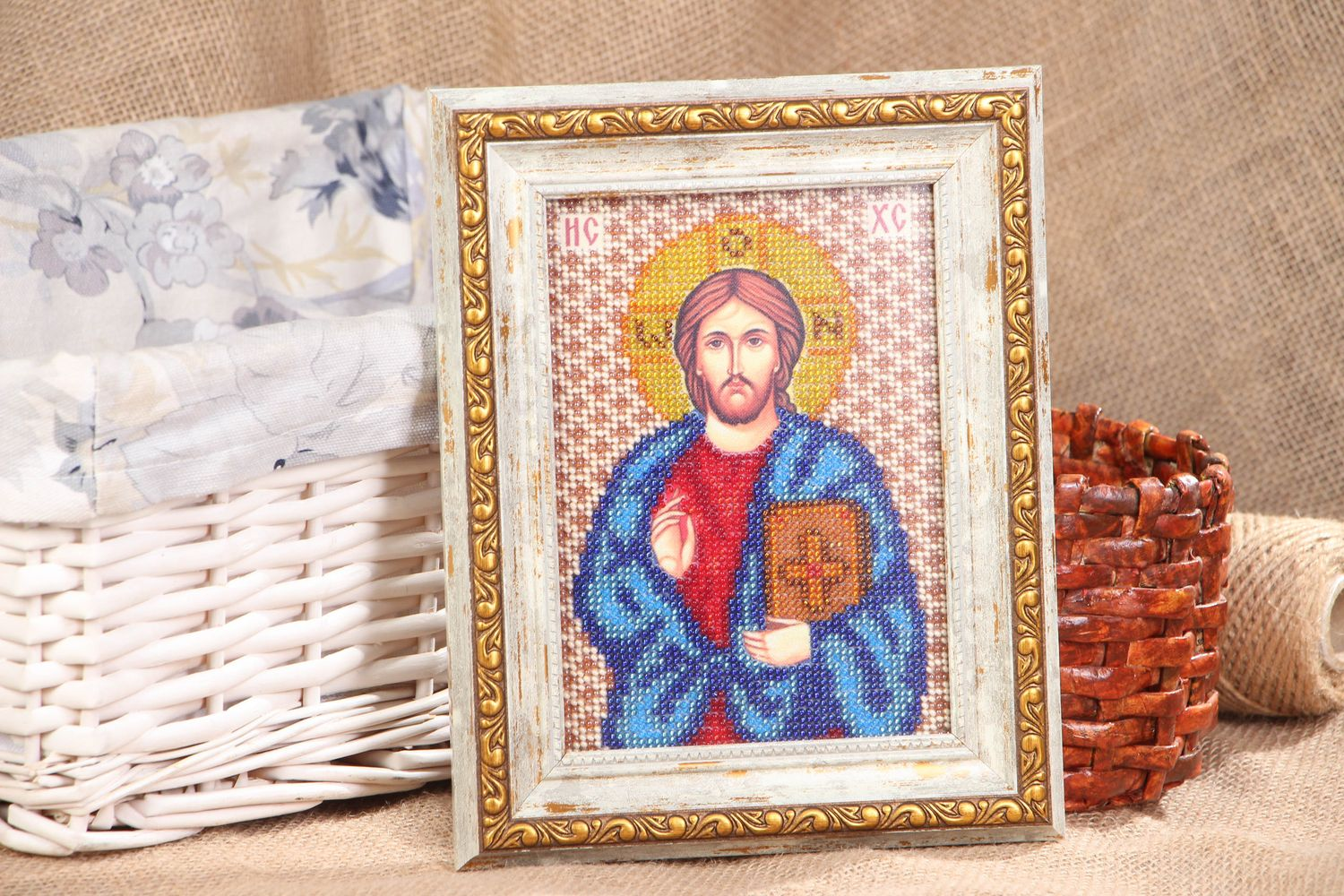 Jesus Christ icon embroidered with beads photo 5