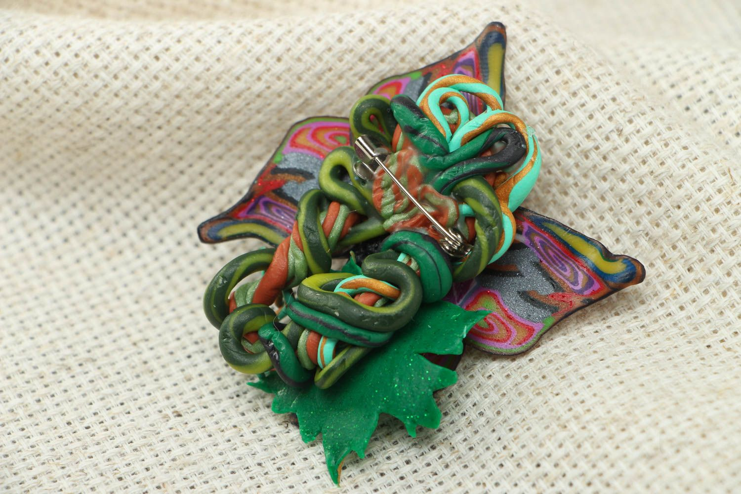 Women's polymer clay brooch in the shape of butterfly photo 3