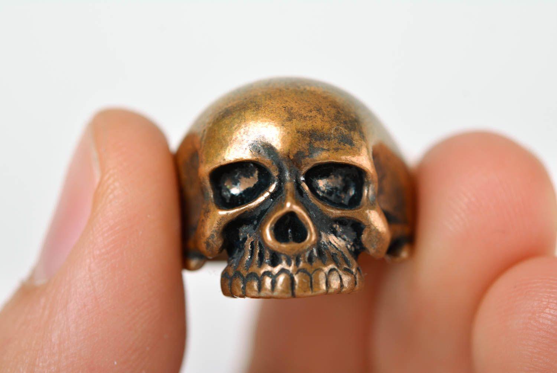 Skull ring handmade bronze ring skull jewelry handmade metal accessories photo 3