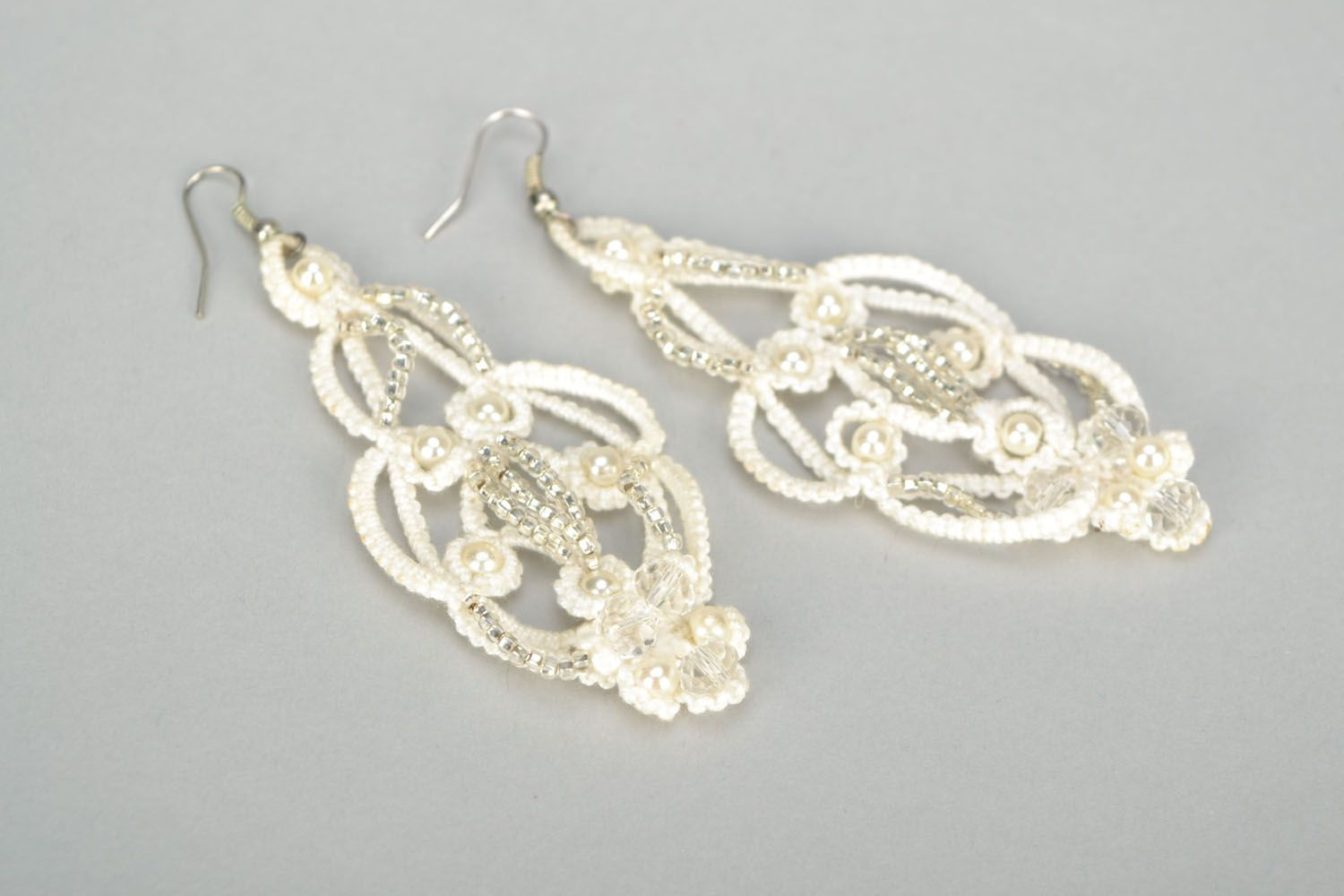 Large tatting earrings photo 3