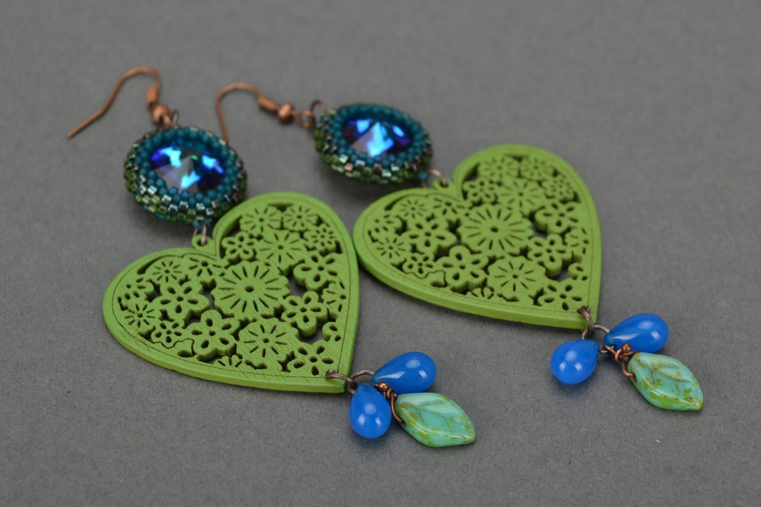 Handmade long designer earrings with wooden green hearts and Czech glass photo 4