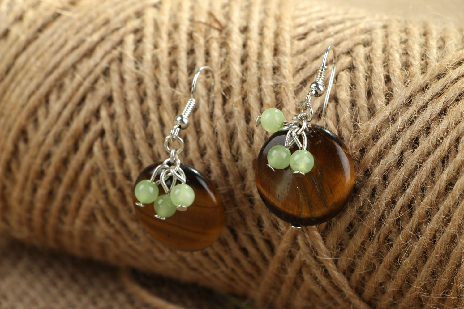 Earrings with chrysoprase and tiger's eye stones photo 3