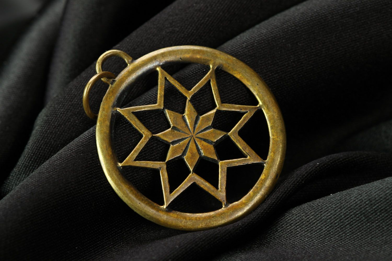 Кулон-оберег из бронзы Алатырь фото 1