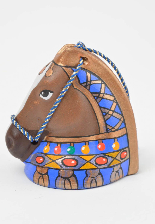 Handmade unusual ceramic bell cute souvenir in shape of horse unusual home decor photo 3