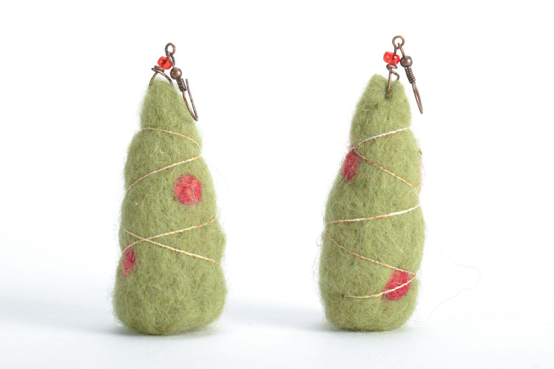 Wool earrings Christmas Trees photo 3