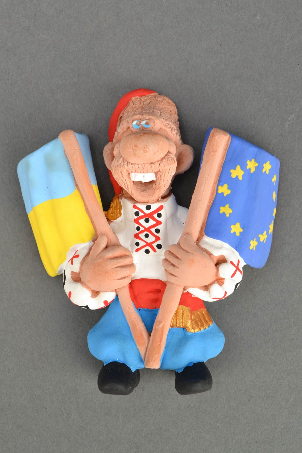 Ceramic fridge magnet Cossack with Flags photo 5