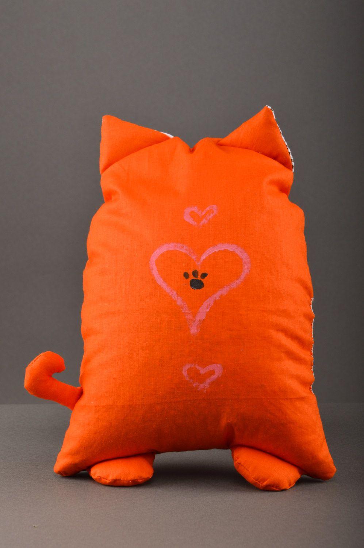 Handmade orange soft pillow with herbs inside Cat photo 2