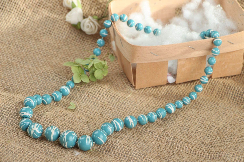Blue bead necklace photo 5