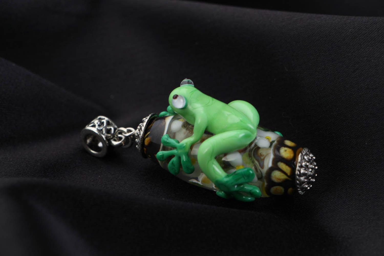 Handmade glass pendant Frog photo 2