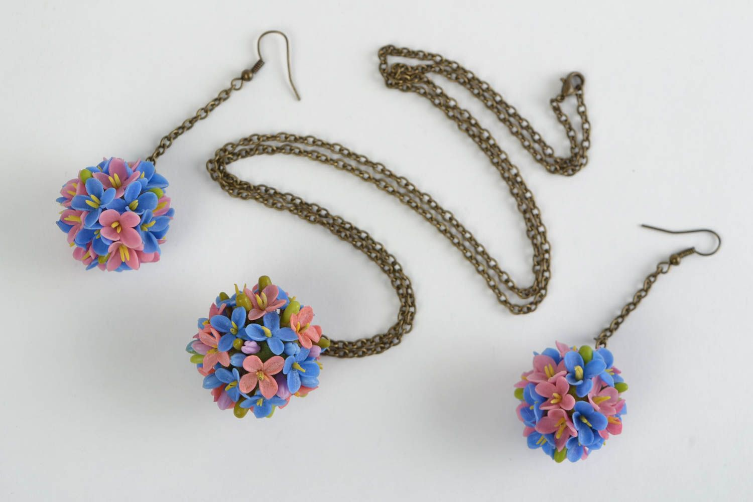 Beautiful design handmade cold porcelain jewelry set flower earrings and pendant photo 5