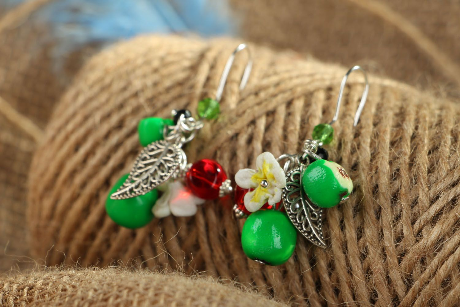Bright earrings with charms Apples photo 3