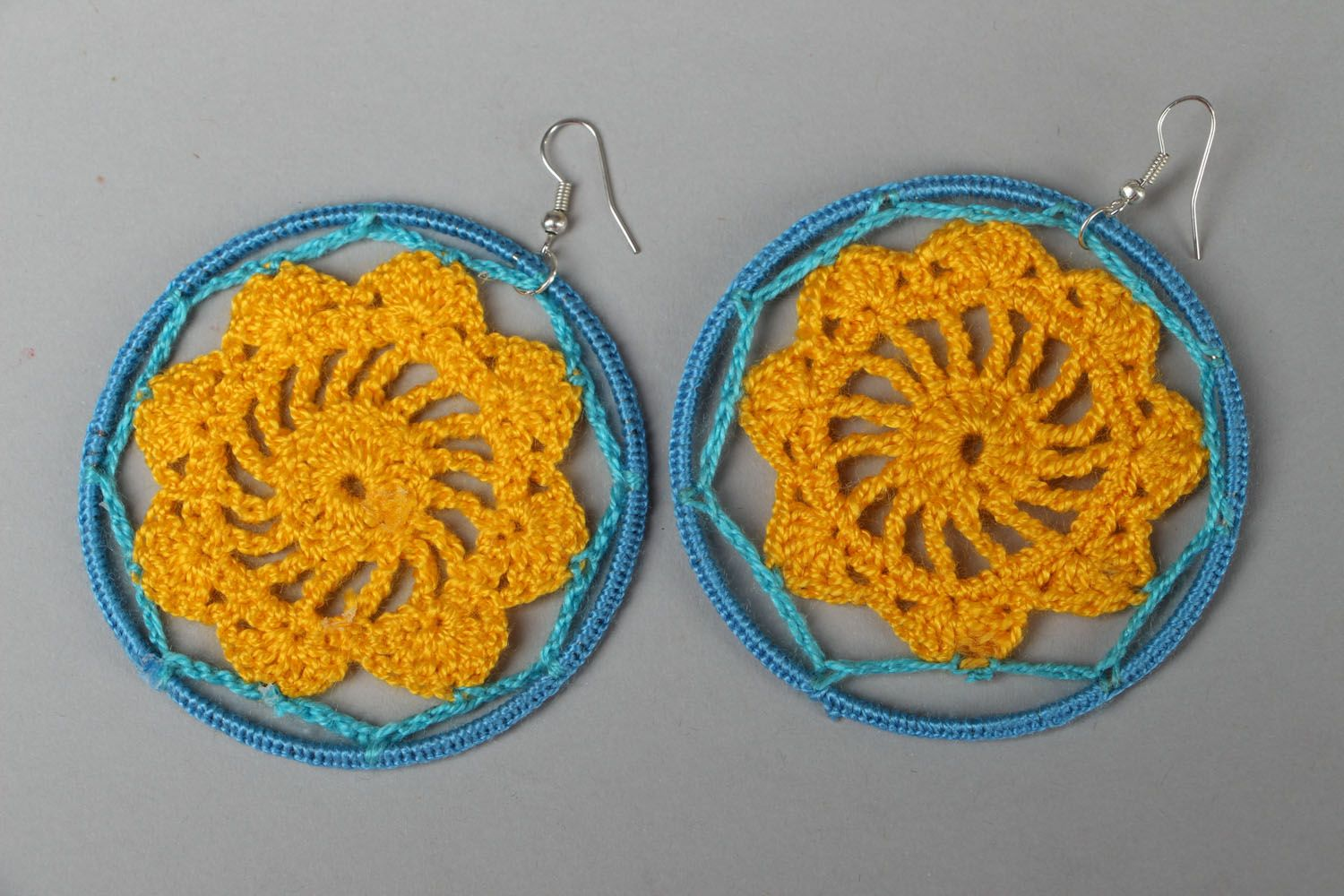 Round crochet earrings Blue and Yellow photo 1