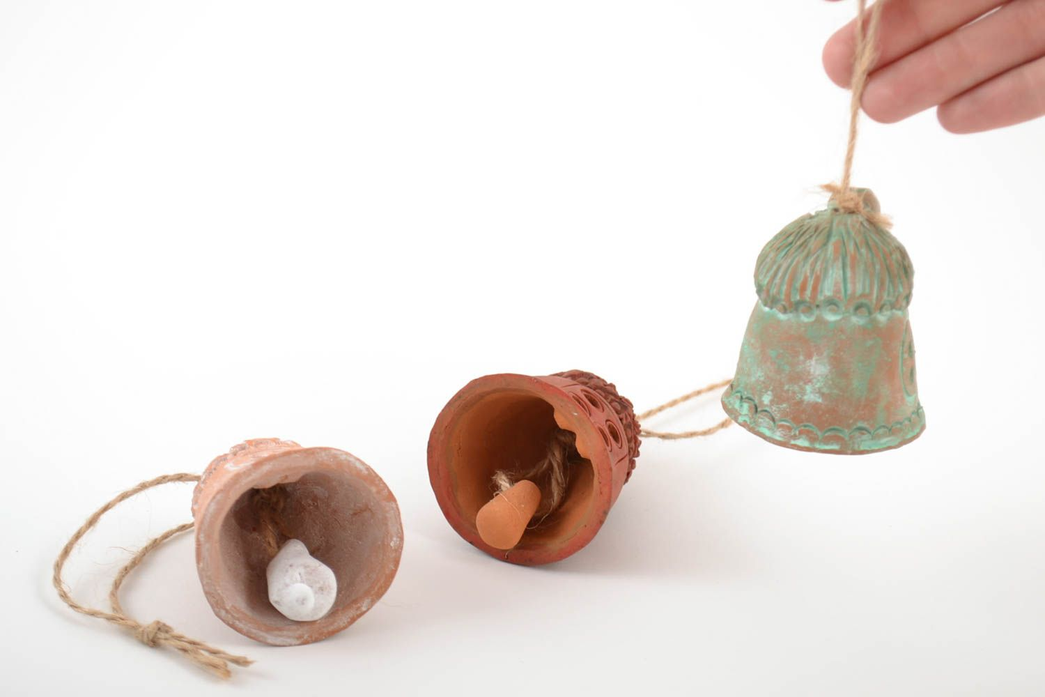 Set of 3 handmade decorative ceramic bells Houses of different colors with cords photo 2