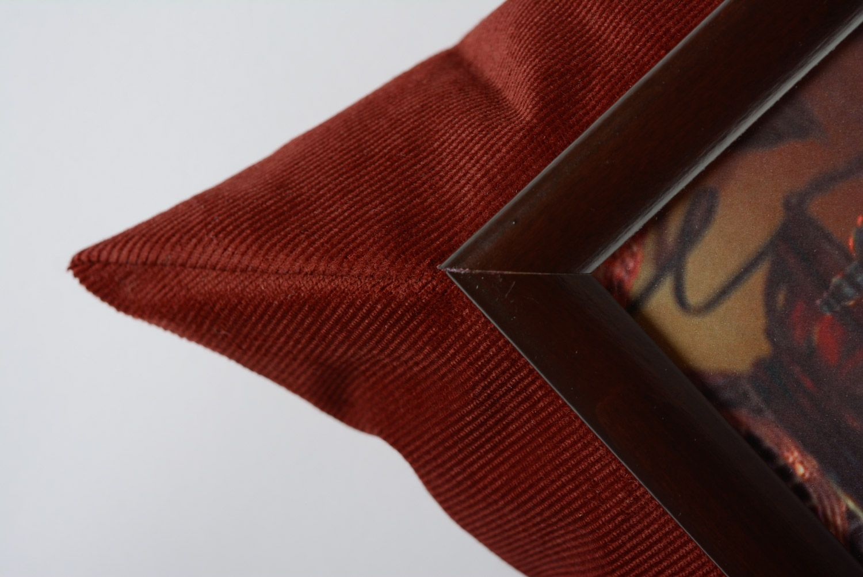 Brown handmade interior tray cushion made of velvet and acrylic fabrics photo 2