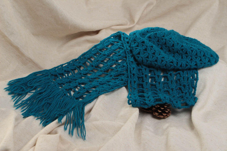couvre-chefs Bonnet et écharpe femme faits main tricotés au crochet en laine  bleu canard 426ec15965e